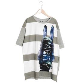 宇宙ラビルアップリケボーダーTシャツ (杢グレー)