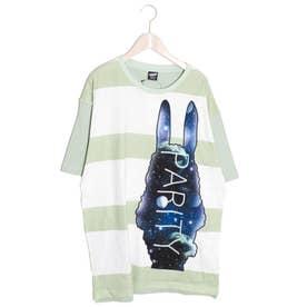 宇宙ラビルアップリケボーダーTシャツ (グリーン)