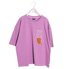 NYABIFURAIアップリケTシャツ (パープル)