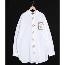 クマエッグトースト刺繍ボタンシャツ (オフホワイト)