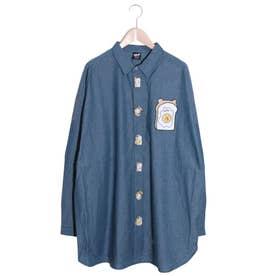 クマエッグトースト刺繍ボタンシャツ (ブルー)