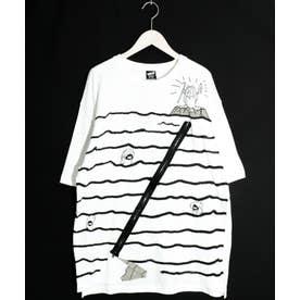 クマの十戒柄ファスナーTシャツ (オフホワイト)