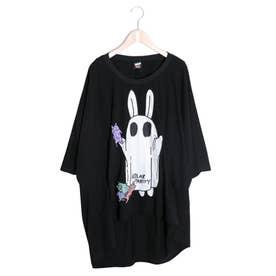 おばけごっこウサギ柄Tシャツ (ブラック)