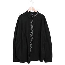 豆ラビル刺繍シャツ (ブラック)