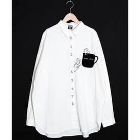 KUMA COFFEE刺繍シャツ (オフホワイト)