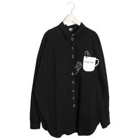 KUMA COFFEE刺繍シャツ (ブラック)