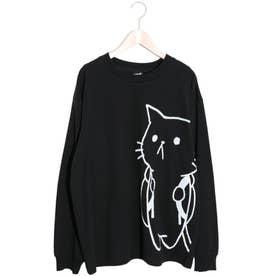 かわいい子には旅をさせよ ネコリュック柄ロングスリーブTシャツ (ブラック)