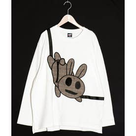 張り付きウサギロングスリーブTシャツ (オフホワイト)