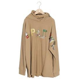 KUMAEATS刺繍プルパーカー (ベージュ)