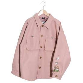 恐竜刺繍フェイクウールジャケット (ピンク)