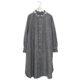 蝶刺繍襟シャツワンピース (ブラック)