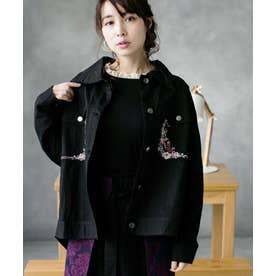 刺繍プリーツジャケット (ブラック)