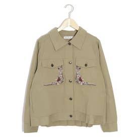 刺繍プリーツジャケット (カーキ)