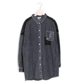 アップリケデニムBIGシャツ (ブラック)