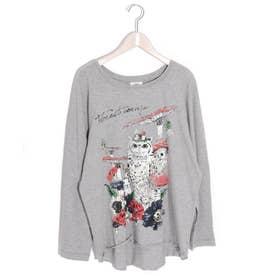 フクロウラグランロングスリーブTシャツ (杢グレー)