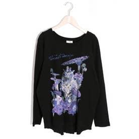 フクロウラグランロングスリーブTシャツ (ブラック)