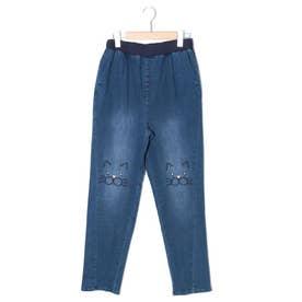 ひざネコ刺繍パンツ  #ネコ #刺繍 (ブルー)