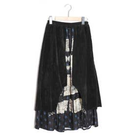 街並みアート柄異素材切替スカート (ブラック)