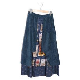 街並みアート柄異素材切替スカート (ネイビー)