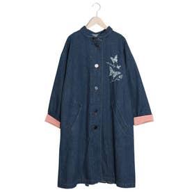 デニム蝶刺繍バックプリーツタックコート (ネイビー)