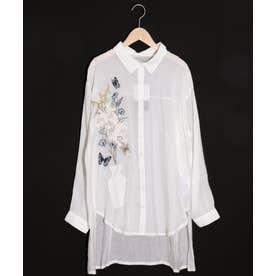 花瓶刺繍シアー布帛シャツ (オフホワイト)