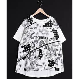 フルーツプリント切替Tシャツ (オフホワイト)