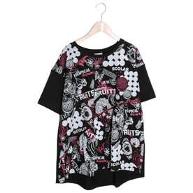 フルーツプリント切替Tシャツ (ブラック)