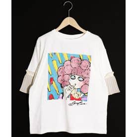 ポテト柄プリーツ袖Tシャツ (オフホワイト)
