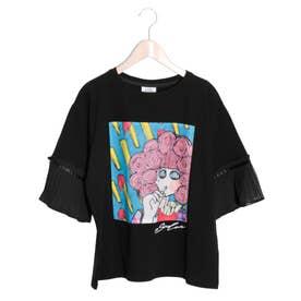 ポテト柄プリーツ袖Tシャツ (ブラック)