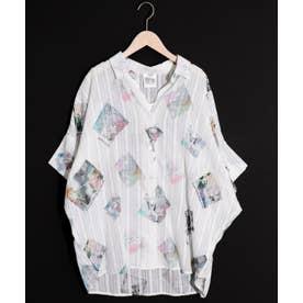 アートパネル総柄透かしストライプシャツ (オフホワイト)