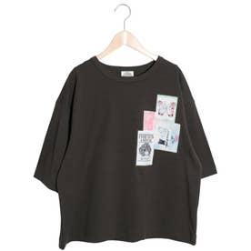 コラージュアップリケTシャツ (チャコールグレー)