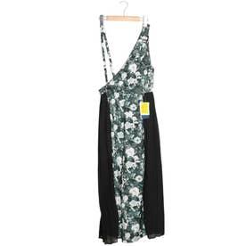 花柄ワンショルダーサロペット (ブラック)