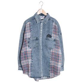 デニム×チェック刺繍シャツ (ブルー)