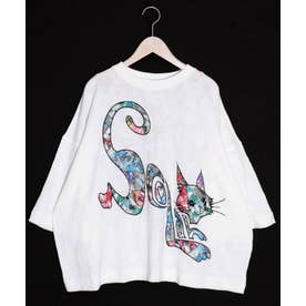 ネコアップリケ ジャガードワイドTシャツ (オフホワイト)