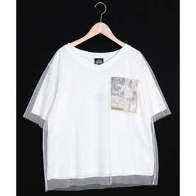 アート柄チュール重ねTシャツ (オフホワイト)