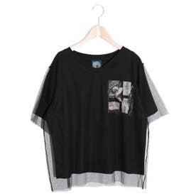 アート柄チュール重ねTシャツ (ブラック)