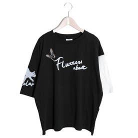 ネコ×蝶柄Tシャツ (ブラック)