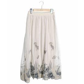 海柄刺繍チュールスカート (アイボリー)