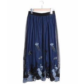 海柄刺繍チュールスカート (ブラック)