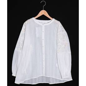 花蝶カットワーク刺繍ドットストライプシャツ (オフホワイト)