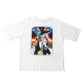 ネコアート柄アップリケBIG Tシャツ (オフホワイト)