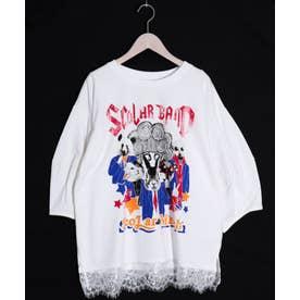 BAND柄 裾レースTシャツ (オフホワイト)