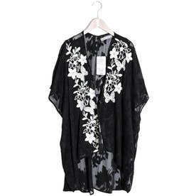 蝶花チェーンステッチ刺繍シフォンカーディガン (ブラック)