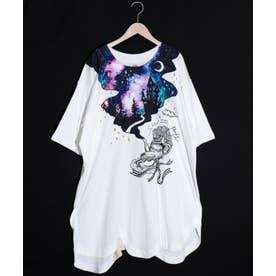 アートツリー柄ワイドスリーブTシャツ (オフホワイト)