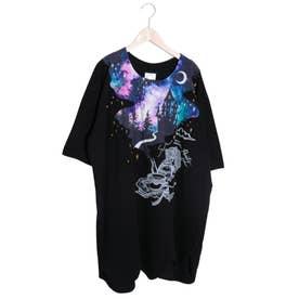 アートツリー柄ワイドスリーブTシャツ (ブラック)