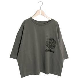 アートツリー柄ワイドスリーブTシャツ (チャコールグレー)