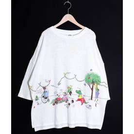 アニマルピクニック柄ジャガードTシャツ (オフホワイト)