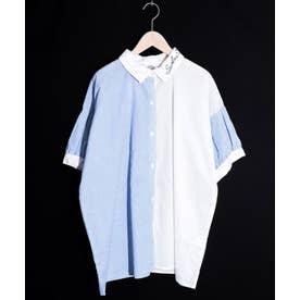 トランプ刺繍切替シャツ (オフホワイト)