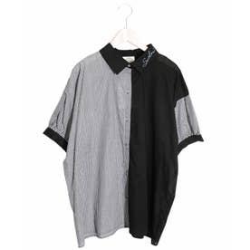 トランプ刺繍切替シャツ (ブラック)