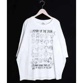ライオンHair柄Tシャツ (オフホワイト)